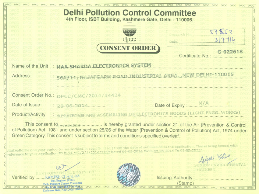 Pollution Control Certificate